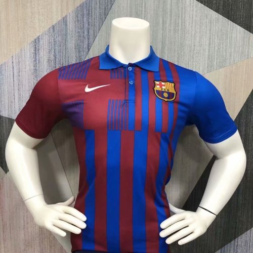 Barcelona 21/22 Pre-Match Polo Shirt Red and Blue