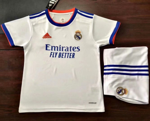 Kids Real Madrid 21/22 Home Jersey and Short Kit
