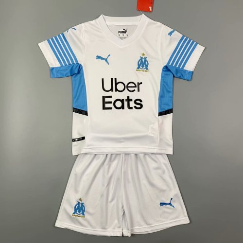 Kids Olympique Marseille 21/22 Home Jersey and Short Kit
