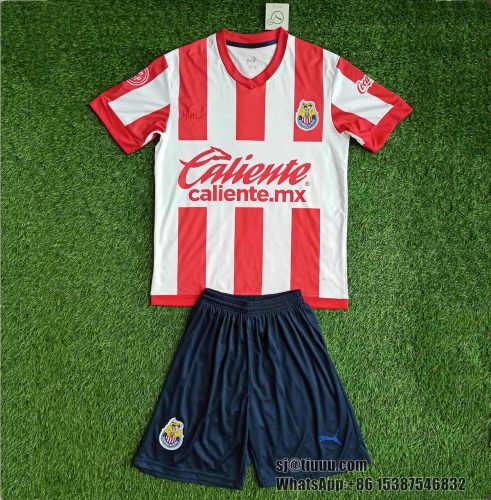 Kids Chivas de Guadalajara 2021 Home Jersey and Short Kit