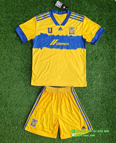 (On Sale) Kids Tigres UANL 2021 Home Soccer Jersey and Short Kit