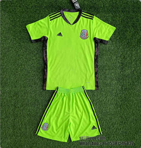 Kids Mexico 2021 Goalkeeper Jersey and Short Kit