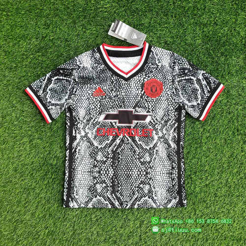 (On Sale) Kids Manchester United 21/22 Pre-Match Jersey and Short Kit