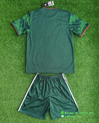 (On Sale) Kids Mexico 2021 Home Jersey and Short Kit - Green