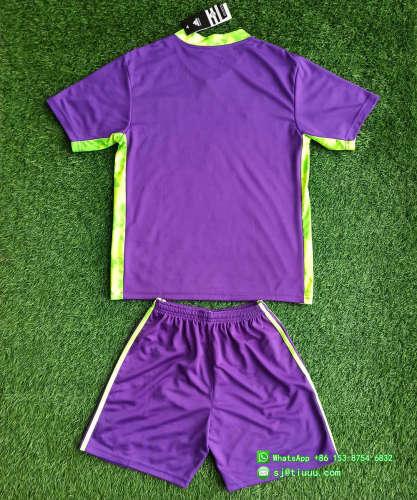(On Sale) Kids Tigres UANL 2021 Purple Goalkeeper Jersey and Short Kit