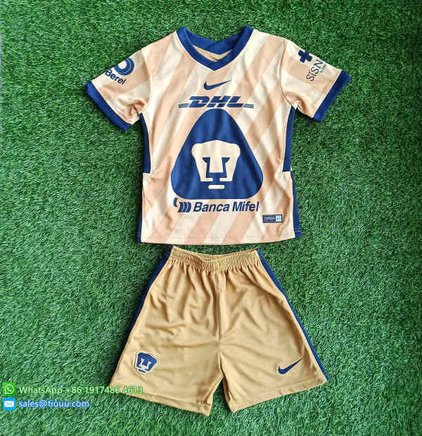 (On Sale) Kids Pumas UNAM 2021 Third Soccer Jersey and Short Kit