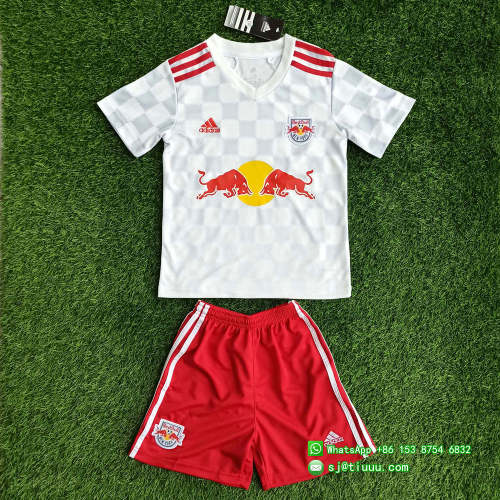 (On Sale) Kids New York Red Bulls 2021 Home Soccer Jersey and Short Kit