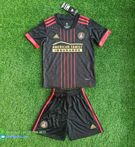 (On Sale) Kids Atlanta United FC 2021 Home Soccer Jersey and Short Kit