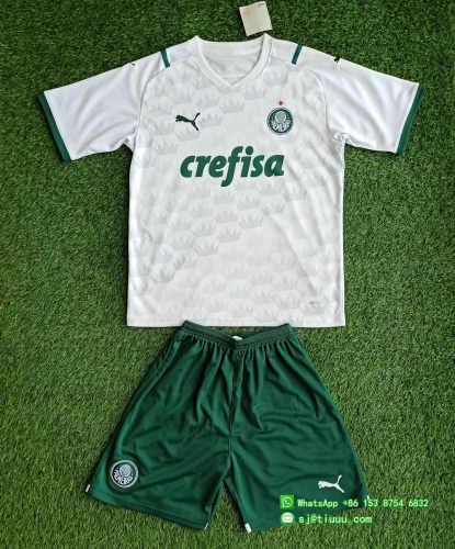 (On Sale) Kids Palmeiras 2021 Away Jersey and Short Kit