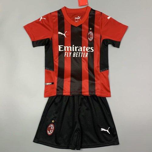 Kids AC Milan 21/22 Home Jersey and Short Kit