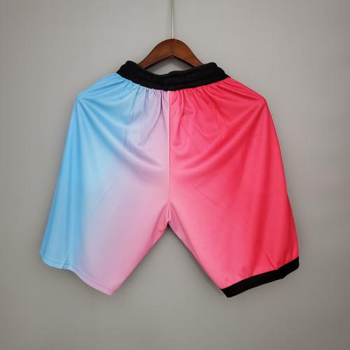 Thai Version Men's Pink&Blue 2020-21 Swingman Shorts - City Edition