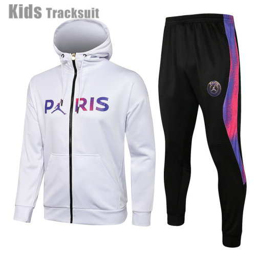 Kids Paris Saint-Germain 21/22 Full-Zip Hoodie Tracksuit E518#