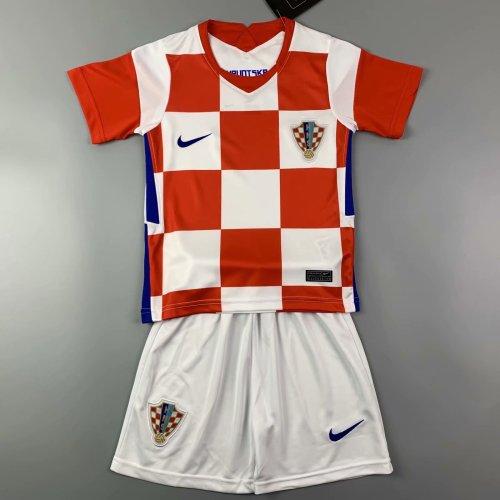 Kids Croatia 2021 Home Jersey and Short Kit