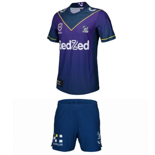Kids Melbourne Storm 2021 Home Rugby Kit