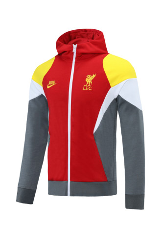 Liverpool 21/22 Full-zip Training Hoodie Red Yellow and Gray MT06