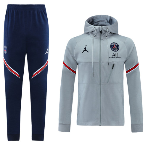 Paris Saint-Germain 21/22 Full-Zip Hoodie Tracksuit Gray MT04
