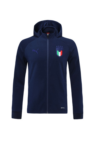 Italy 2021 Full-zip Training Hoodie Navy MT07