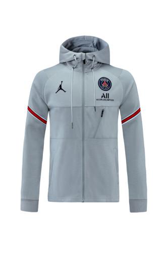 Paris Saint-Germain 21/22 Full-zip Training Hoodie Gray MT04