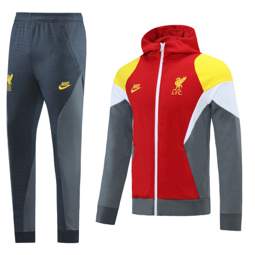 Liverpool 21/22 Full-Zip Hoodie Tracksuit Red and Gray MT06