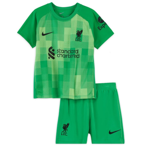 Kids Liverpool 21/22 Home Goalkeeper Jersey and Short Kit