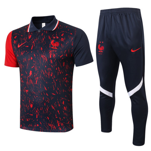 France 2021 Pre-Match Polo Kit Black and Red C540#