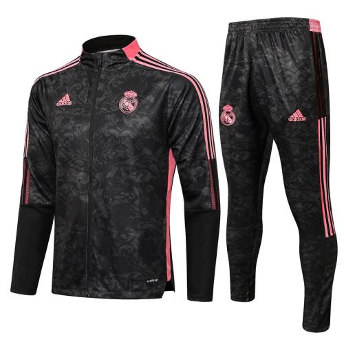 Real Madrid 21/22 Jacket Tracksuit Black A447#