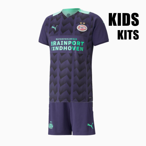 Kids PSV Eindhoven 21/22 Away Jersey and Short Kit