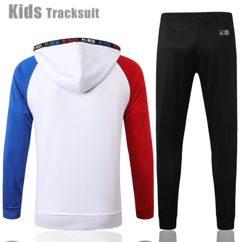 Kids Paris Saint-Germain 21/22 Full-Zip Hoodie Tracksuit White E472#
