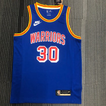 Thai Version Stephen Curry Men's Blue 2021-22 75th Anniversary Jersey - Classic Edition
