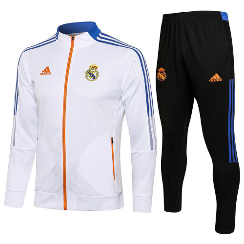 Real Madrid 21/22 Jacket Tracksuit White A453#
