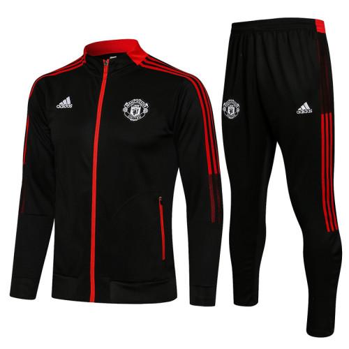 Manchester United 21/22 Jacket Tracksuit Black A455#