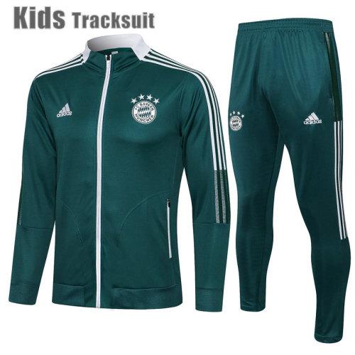 Kids Bayern Munich 21/22 Jacket Tracksuit Blackish Green E544#