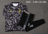 Juventus 21/22 Drill Tracksuit Black and Gray B494#