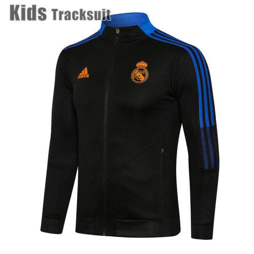 Kids Real Madrid 21/22 Jacket Tracksuit Black E532#
