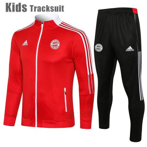 Kids Bayern Munich 21/22 Jacket Tracksuit Red E540#