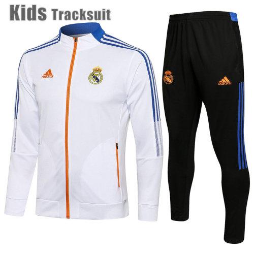 Kids Real Madrid 21/22 Jacket Tracksuit White E533#