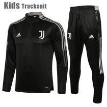 Kids Juventus 21/22 Drill Tracksuit Black E552#