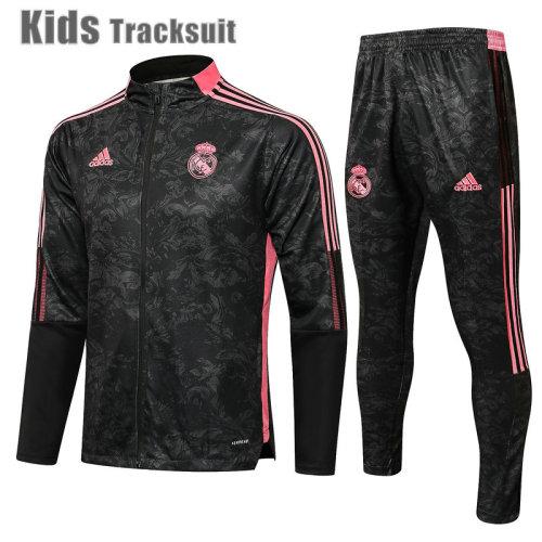 Kids Real Madrid 21/22 Jacket Tracksuit Black E535#