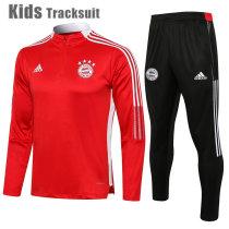 Kids Bayern Munich 21/22 Drill Tracksuit Red E541#