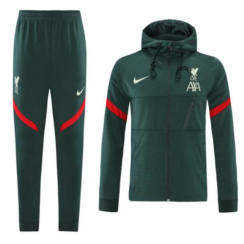 Liverpool 21/22 Full-Zip Hoodie Tracksuit Green MT13