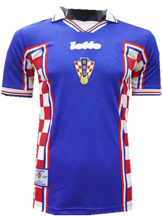 Thai Version Croatia 1998 World Cup Retro Away Soccer Jersey