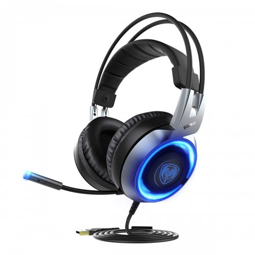 SOMIC G951 USB Plug Stereo Sound Gaming Headset for PC, PS4, Laptop, with Vibration Bass,Mic &RGB LED Lights (Black)