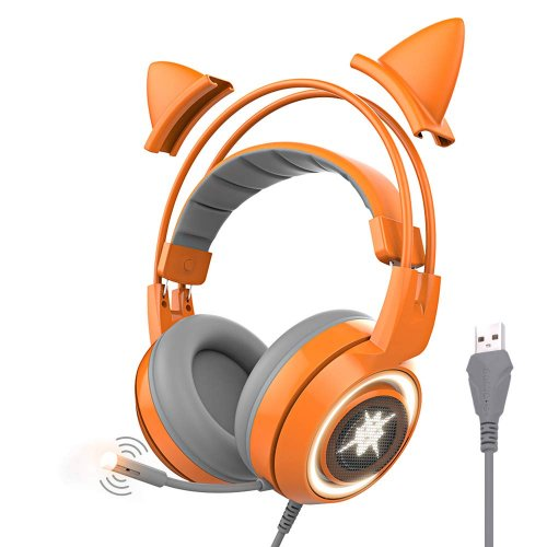 SOMIC G951orange Gaming Headset with USB Work with PC, PS4, Laptop: 7.1 Virtual Surround Sound Detachable Cat Ear Headphones LED, Lightweight Self-Adjusting Over Ear Headphones for Girlfriend Women