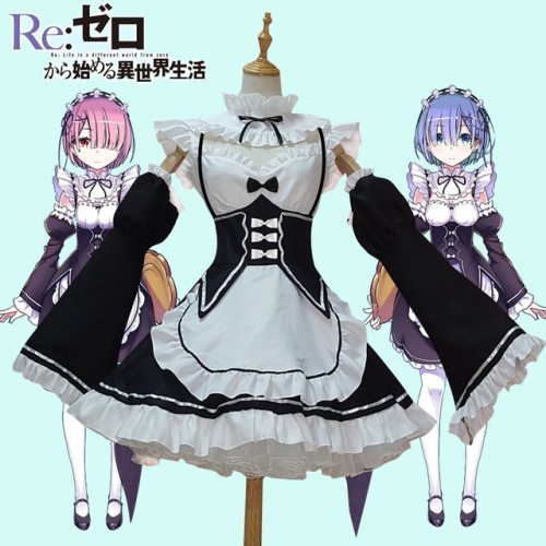 Anime Re: Life in a Different World from Zero Rem Ram Cosplay Costume Maid Dress