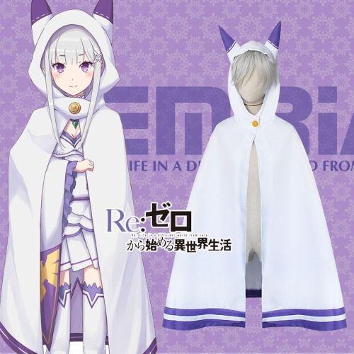 Anime Re: Zero Kara Hajimeru Isekai Seikatsu Emilia Cosplay Cat Ears Cloak Cape