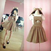 Kawaii Rilakkuma Cute Bear Embroidery Lolita Coaplay Dress