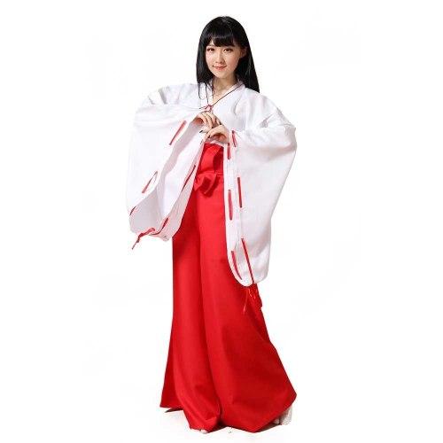 InuYasha Kikyo Miko Kimono Cosplay Costume Japanese Witch Women's White Kimono Outfit