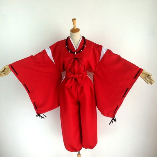 Inuyasha Cosplay Costumes Red Japanese Kimono Wigs Ears And Necklace
