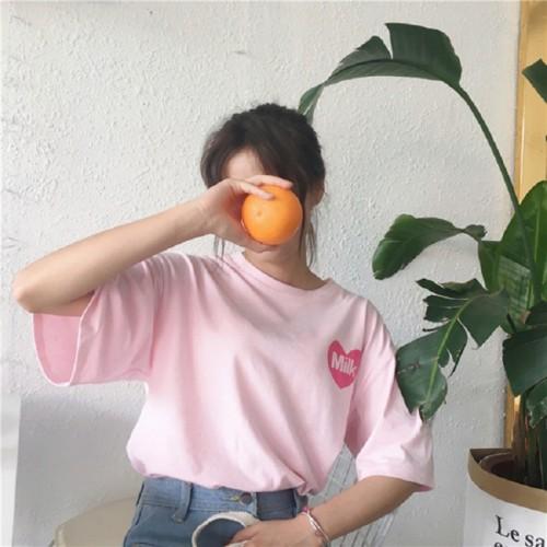 Harajuku Print Milk  Women Cotton T-shirt