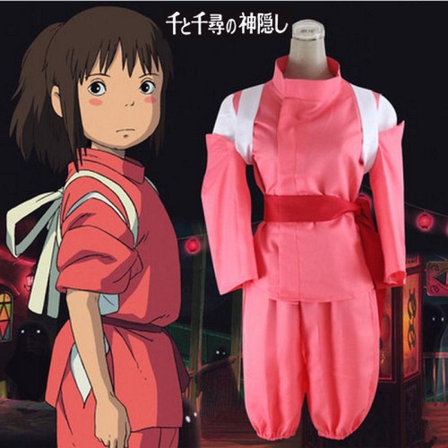 Spirited Away Chihiro Cosplay Costumes Girls Cute Pink  Kimono